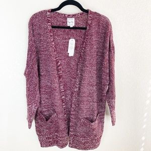 Hippie Rose NWT Red Marled Lace Up Side Cardigan